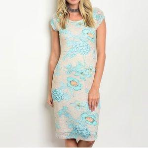 Dresses & Skirts - Turquoise Floral Short Sleeved Dress